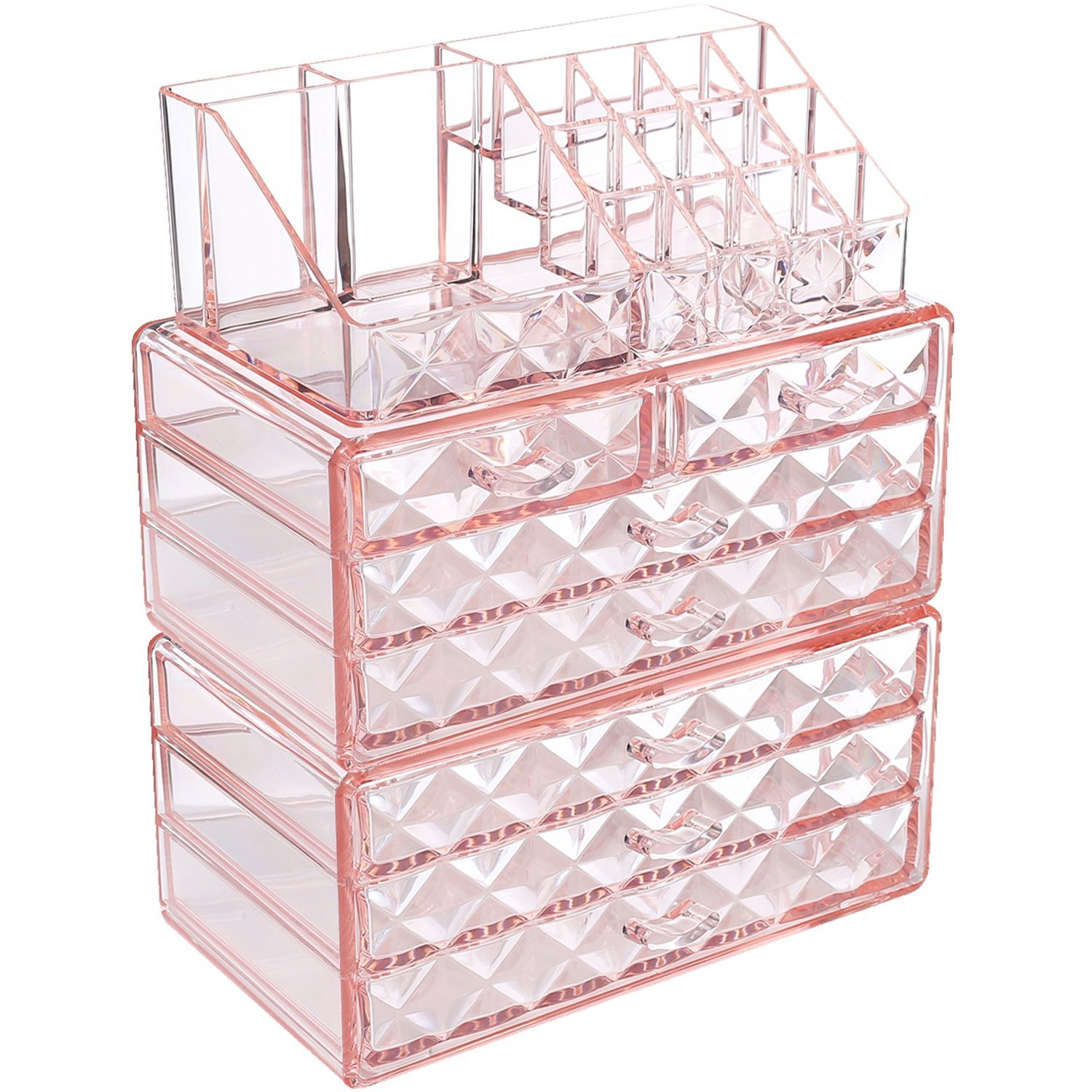 """Ikee Design Diamond Pattern Jewelry Cosmetic Storage Display Boxes, 3 Pieces Set, Cosmetic Jewelry Organizer Makeup Holder, Cosmetic Holder 9 3/8""""W x 5 3/8""""D x 11 3/5""""H, Pink"""
