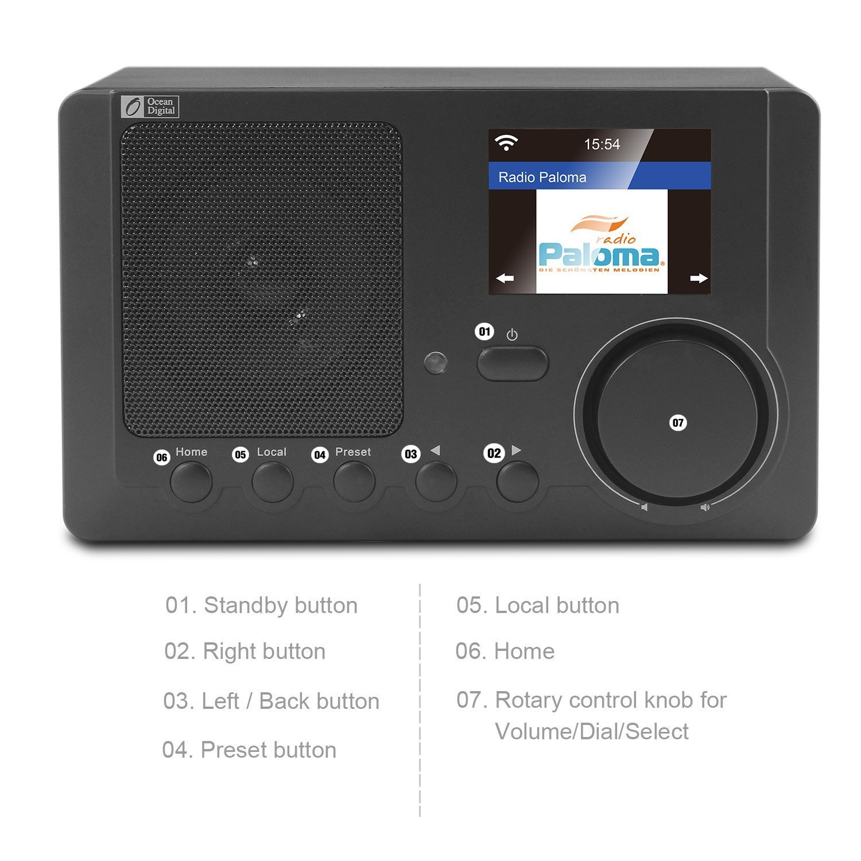 Amazon.com: Ocean Digital Internet Radio WR-210CB Wi-Fi Radio Bluetooth  Receiver With 2.4'' Color Display Wireless Speaker -Black: Home Audio &  Theater