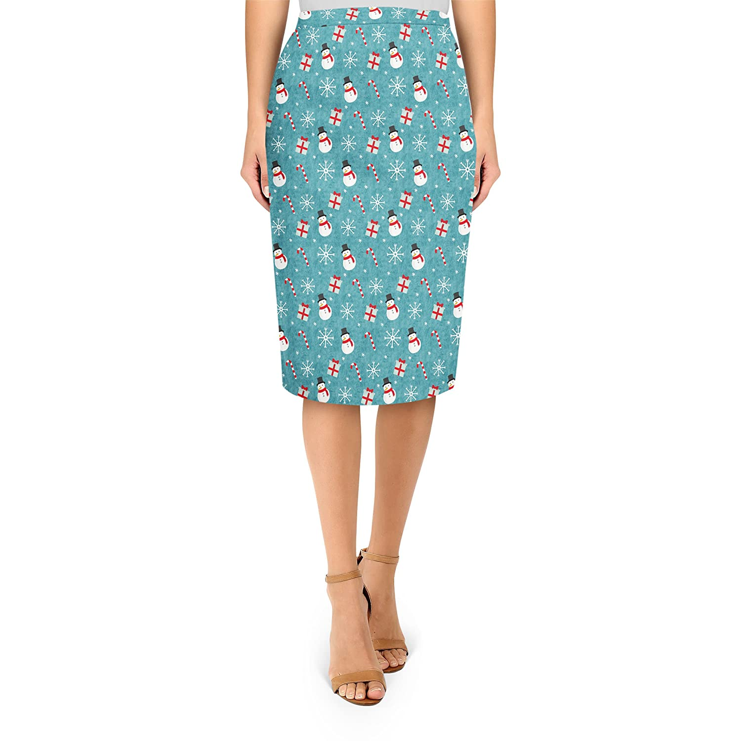 Snowmen and Candy Canes Midi Pencil Skirt