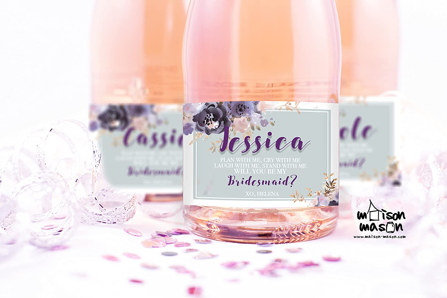 PERSONALIZED Floral Violet and Grey Will you be my Bridesmaid, Will you be my Maid of Honor mini champagne or mini wine labels, SET OF 10