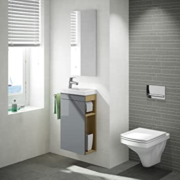 Gästewc gäste wc badmöbel set wt waschbecken mit unterschrank in weiß oder