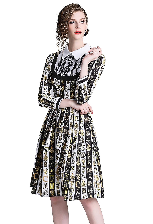 Black Strips LAI MENG FIVE CATS Women Dresses Gem Print Long Sleeve Button up High Neck Vintage Retro Midi Dress
