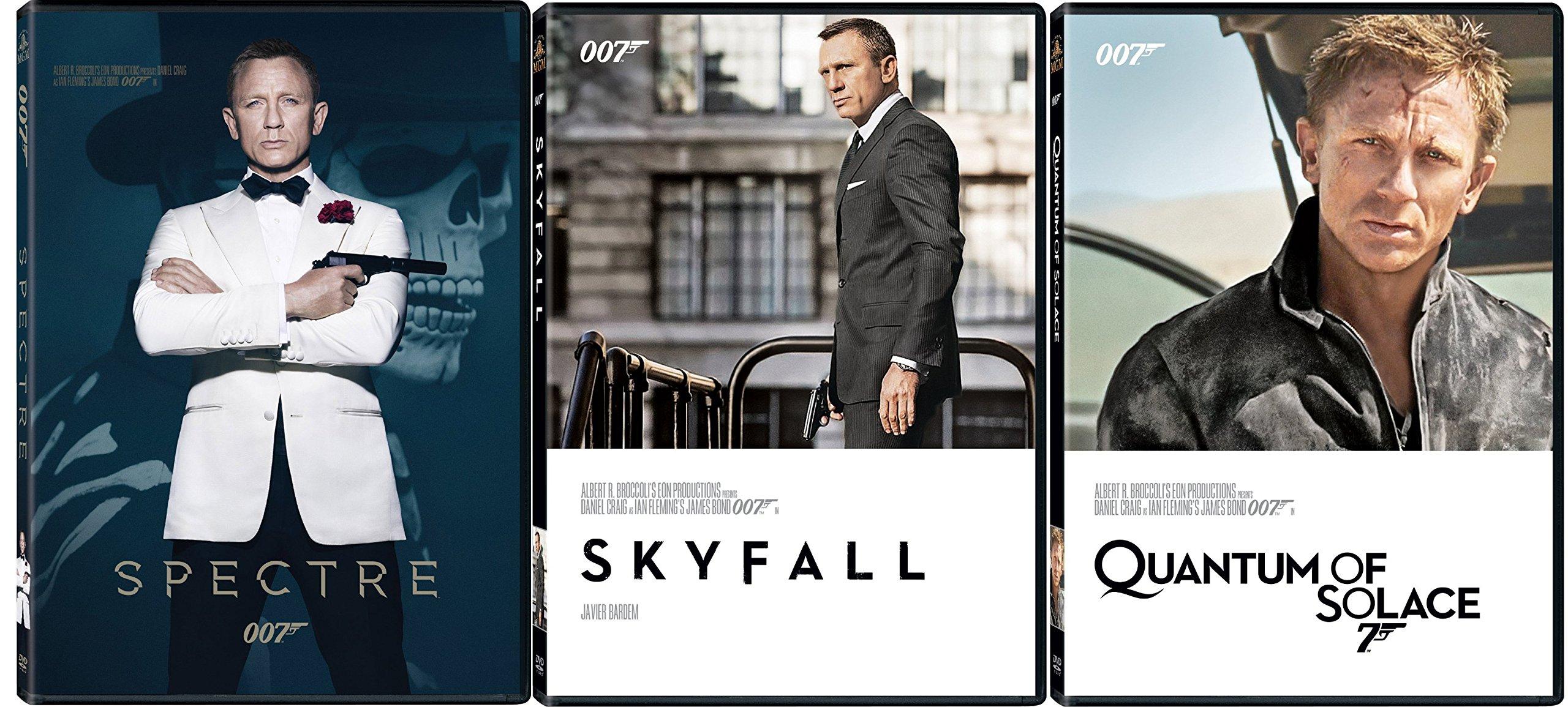 James Bond Film Collection 23/24/25 Quantum of Solace - Skyfall & Spectre 007 DVD Daniel Craig three films Action Movie Set