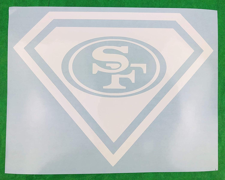 San Francisco 49ers Superman 8 x 6 White Vinyl Car Decal New Gift