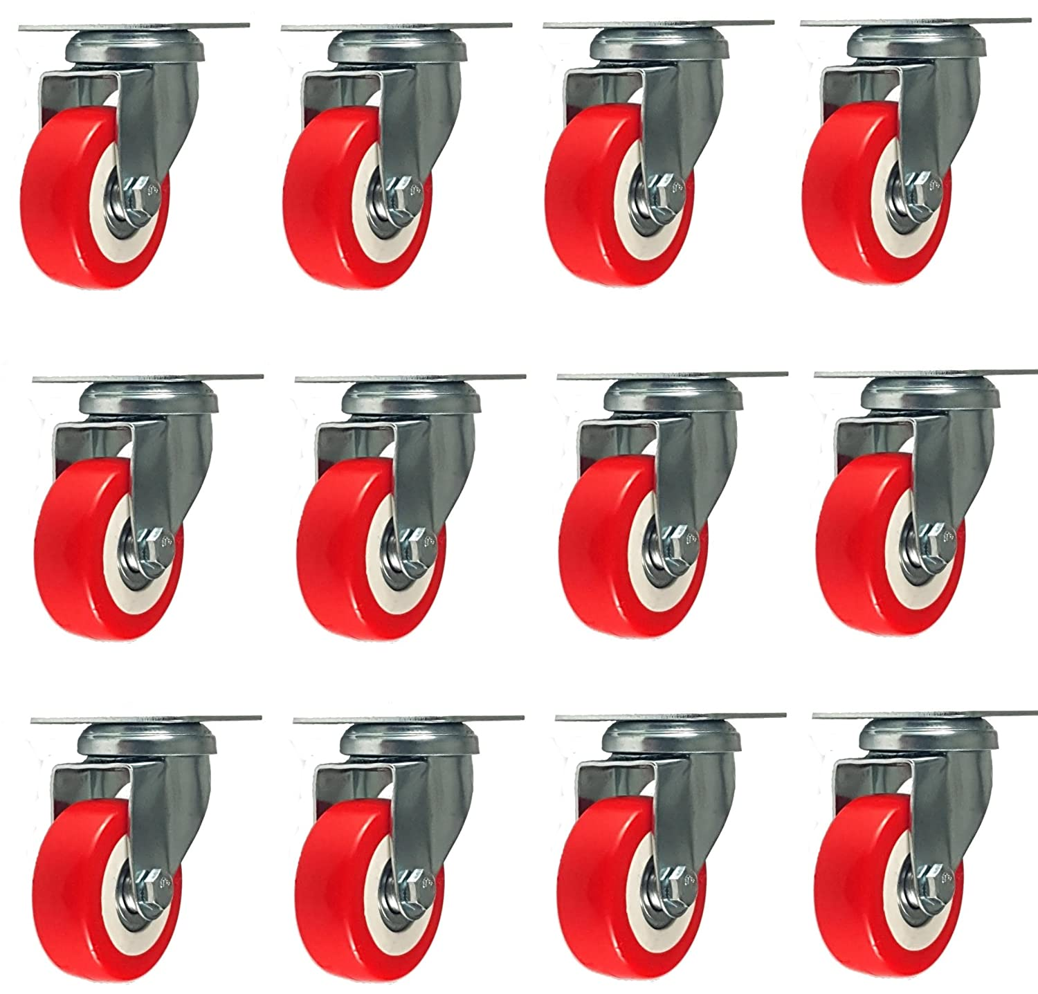 12 Pack Caster Wheels Swivel Plate Casters On Red Polyurethane Wheels 1,500 Lbs