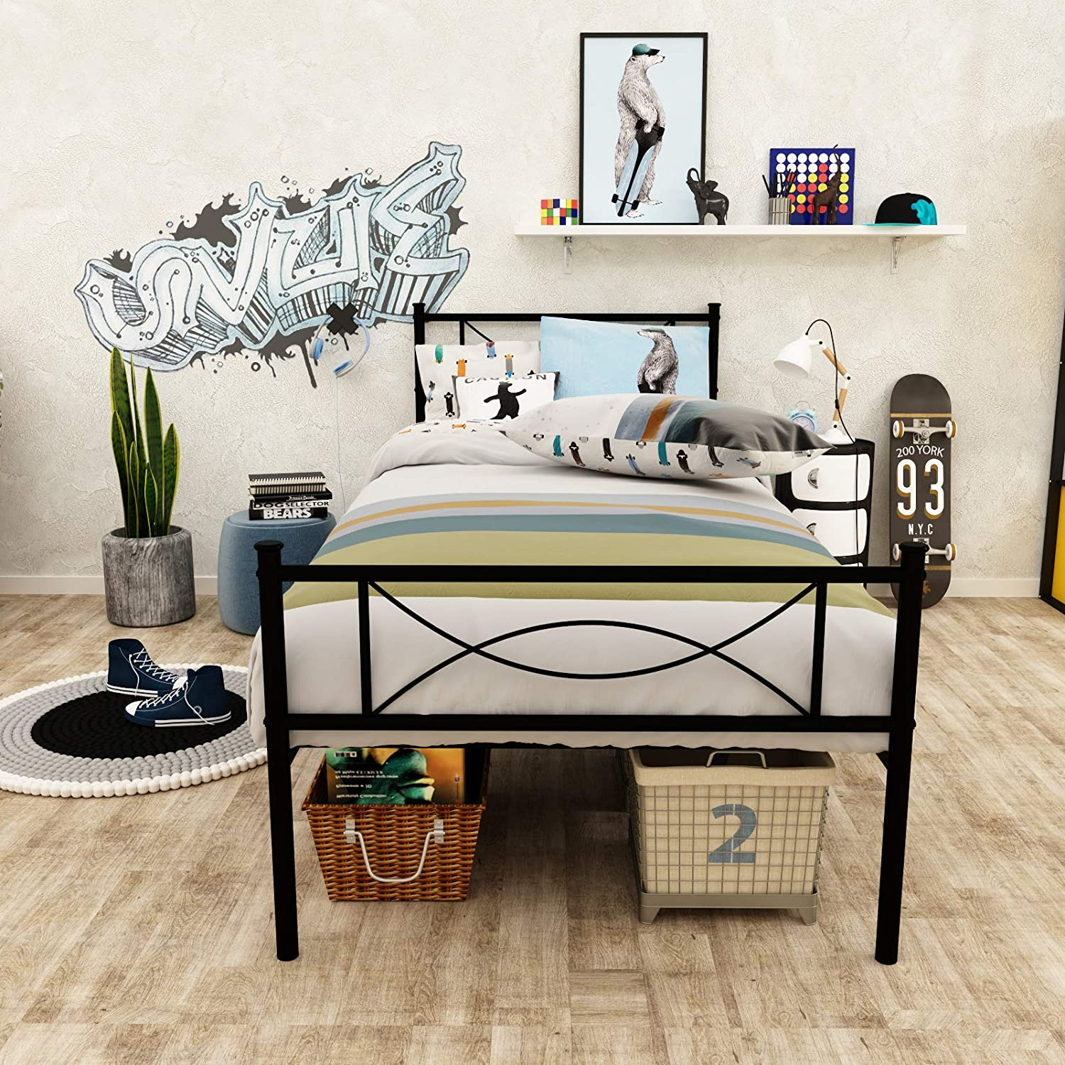 SimLife Metal Twin Platform Bed Frame with Two Headboards Kids Girls Boys Adults Mattress Foundation Stable Metal Slats Support Box Spring Replacement, Black