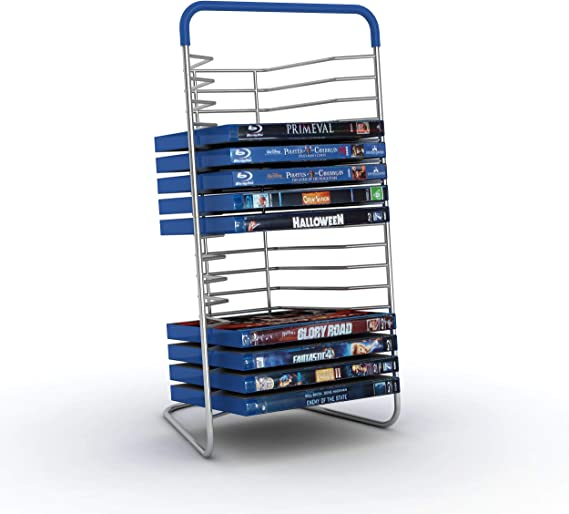 Atlantic Nestable 16 Blu-Ray/Games (Small Format) Rack - Space Saving Modern Design in High End Gunmetal Finish with Blue Molded Handle