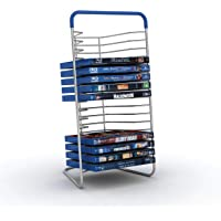 Atlantic Nestable 16 Blu-Ray Rack - Space Saving Modern Design in High End Gunmetal Finish with Blue Molded Handle…
