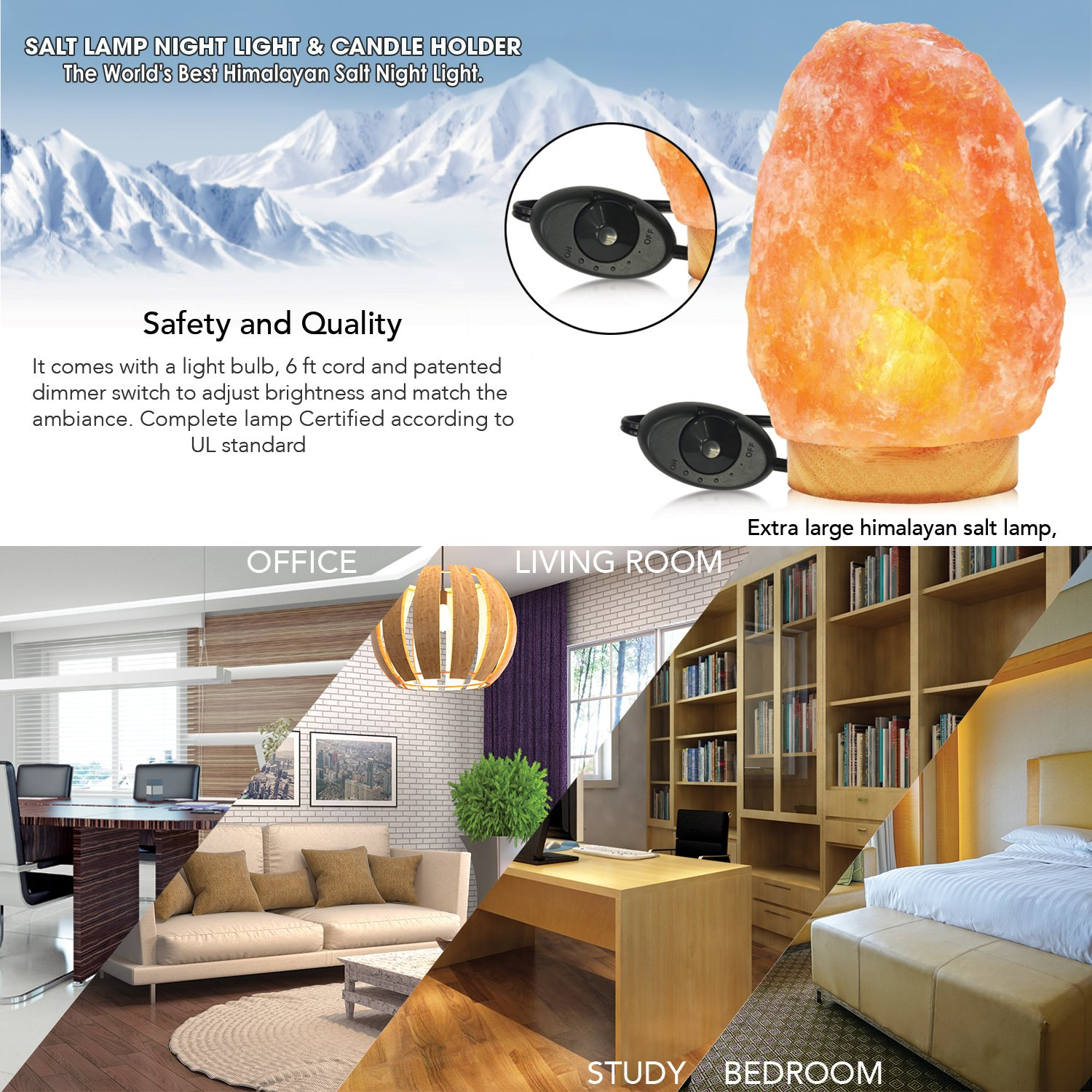 Himalayan Glow Salt Lamp, 1003 Extra large himalayan salt lamp, Dimmable Floor lamp with Neem Wooden base   11 to 15 lbs by WBM by Himalayan Glow (Image #7)