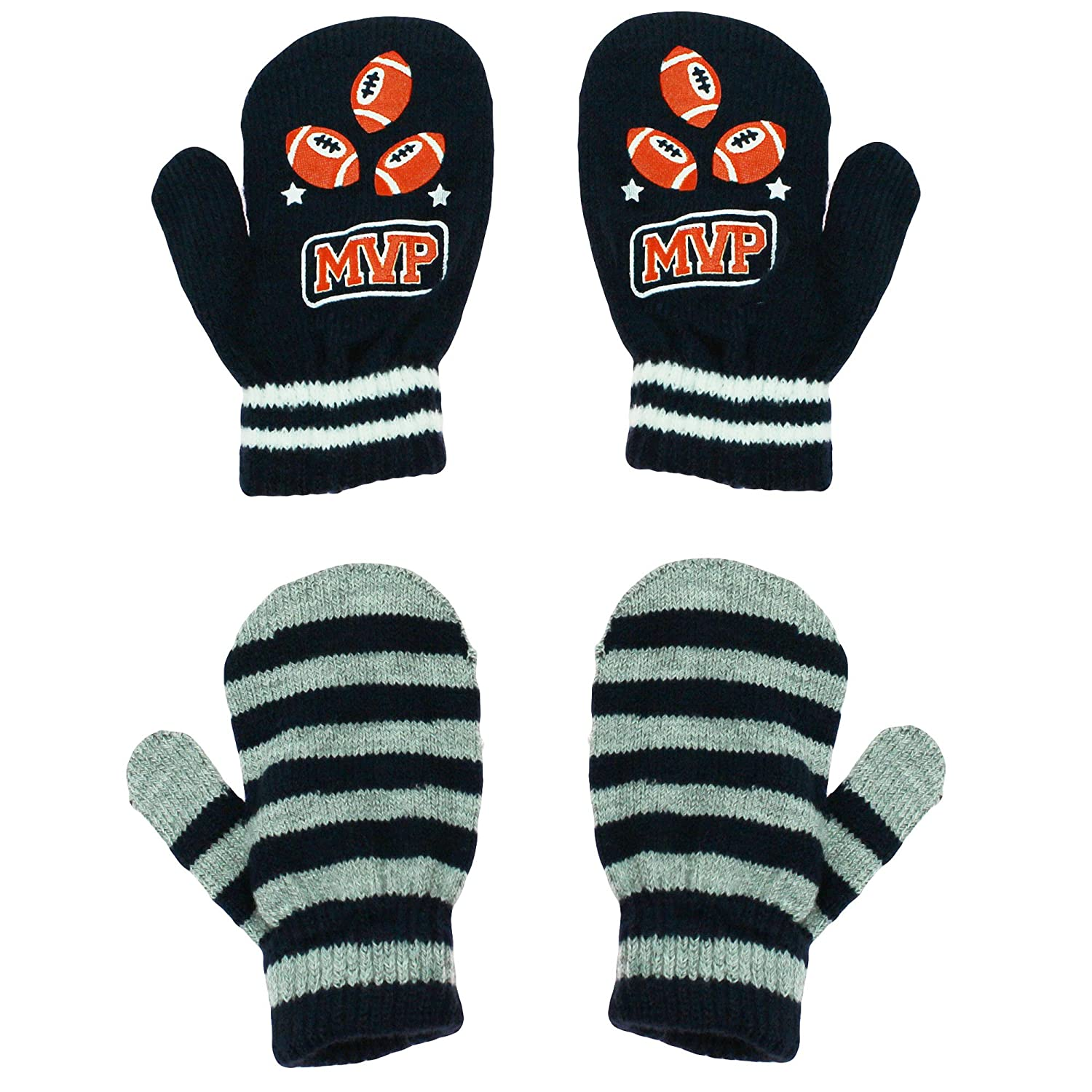 Little Me 2 Pack Stretch Boys Winter Mittens MVP Football Navy Grey Toddler 2T-4T NSD-LTMMIT-MVP-TOD