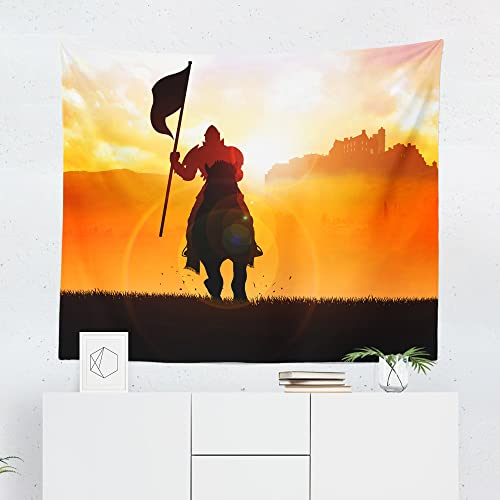 knight tapestry medieval castle horse battle wall tapestries hanging dcor bedroom dorm college living room