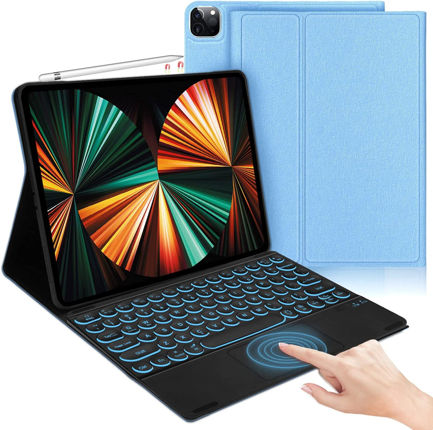 iPad Pro 12.9 2021 Case with Keyboard, Compatible with iPad Pro 12.9 inch 5th / 4th / 3rd Generation - Smart Trackpad - Wireless 7 Color Backlit Keyboard - Smart Folio Case for iPad Pro 12.9, Blue