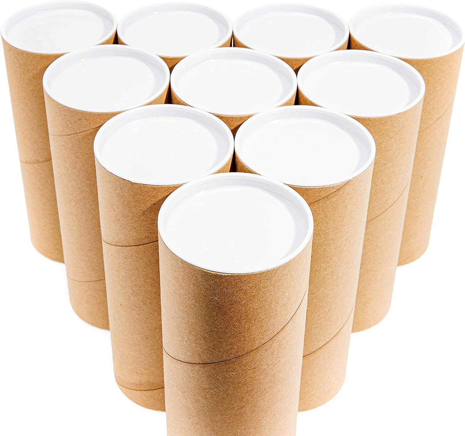 Juvale Mailing Shipping Tubes with Caps 3 x 7 Inches 10 Pack Brown Kraft