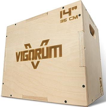Vigorum Plyo Box de madera 3 en 1 – su dispositivo deportivo para casa – Jump Box con fácil montaje – La Fitness Box para saltos de boxeo con bordes redondeados: Amazon.es: