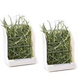 CalPalmy (Upgraded 2-Pack) Hay Feeder/Rack - Ideal for Rabbit/Chinchilla/Guinea Pig - Keeps Grass Clean & Fresh/Non-Toxic, BPA Free Plastic/Minimizing Waste/Mess
