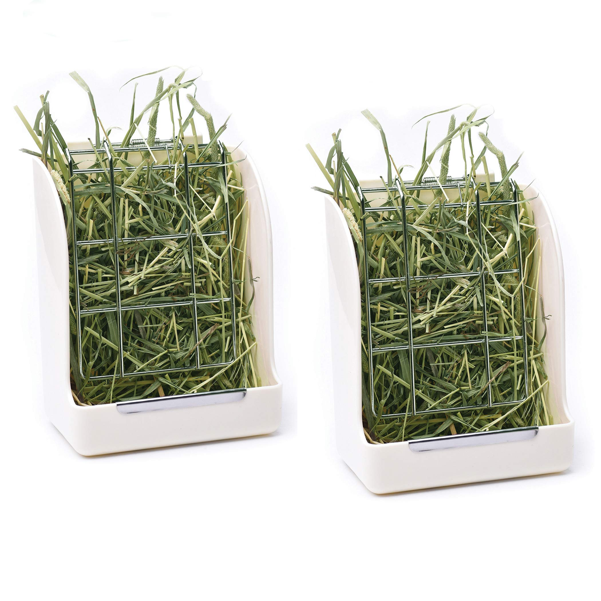 CalPalmy (Upgraded 2-Pack) Hay Feeder/Rack - Ideal for Rabbit/Chinchilla/Guinea Pig - Keeps Grass Clean & Fresh/Non-Toxic, BPA Free Plastic/Minimizing Waste/Mess by CalPalmy