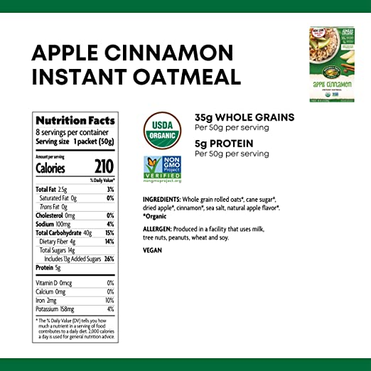 c9efef756fc Amazon.com : Nature's Path Apple Cinnamon Instant Oatmeal, Healthy, Organic,  8 Pouches per Box, 14 Ounces (Pack of 6) : Oatmeal Breakfast Cereals :  Grocery ...