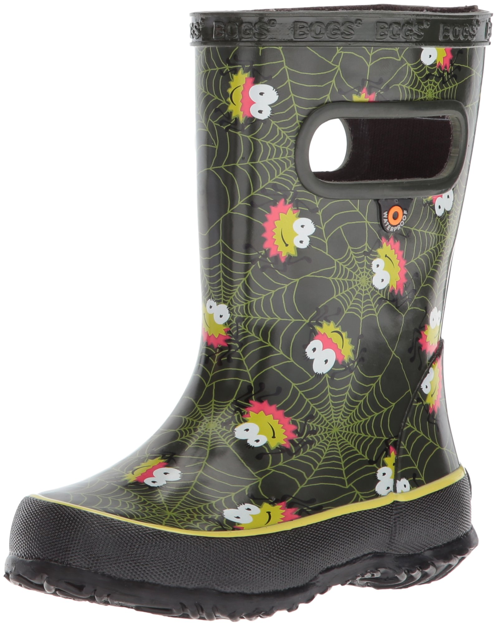 Bogs Kids' Skipper Waterproof Rubber Rain Boot for Boys and Girls,Smiley Spiders/Dark Green/Multi,11 M US Little Kid