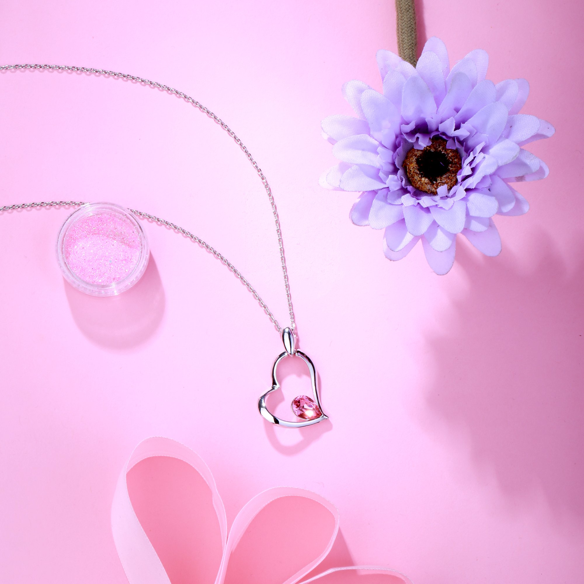 GEORGE · SMITH Romantic Memory Series Stuck in My Heart Love Pendant Necklace with Swarovski Rose Crystal Birthday Wedding Jewellery for Women