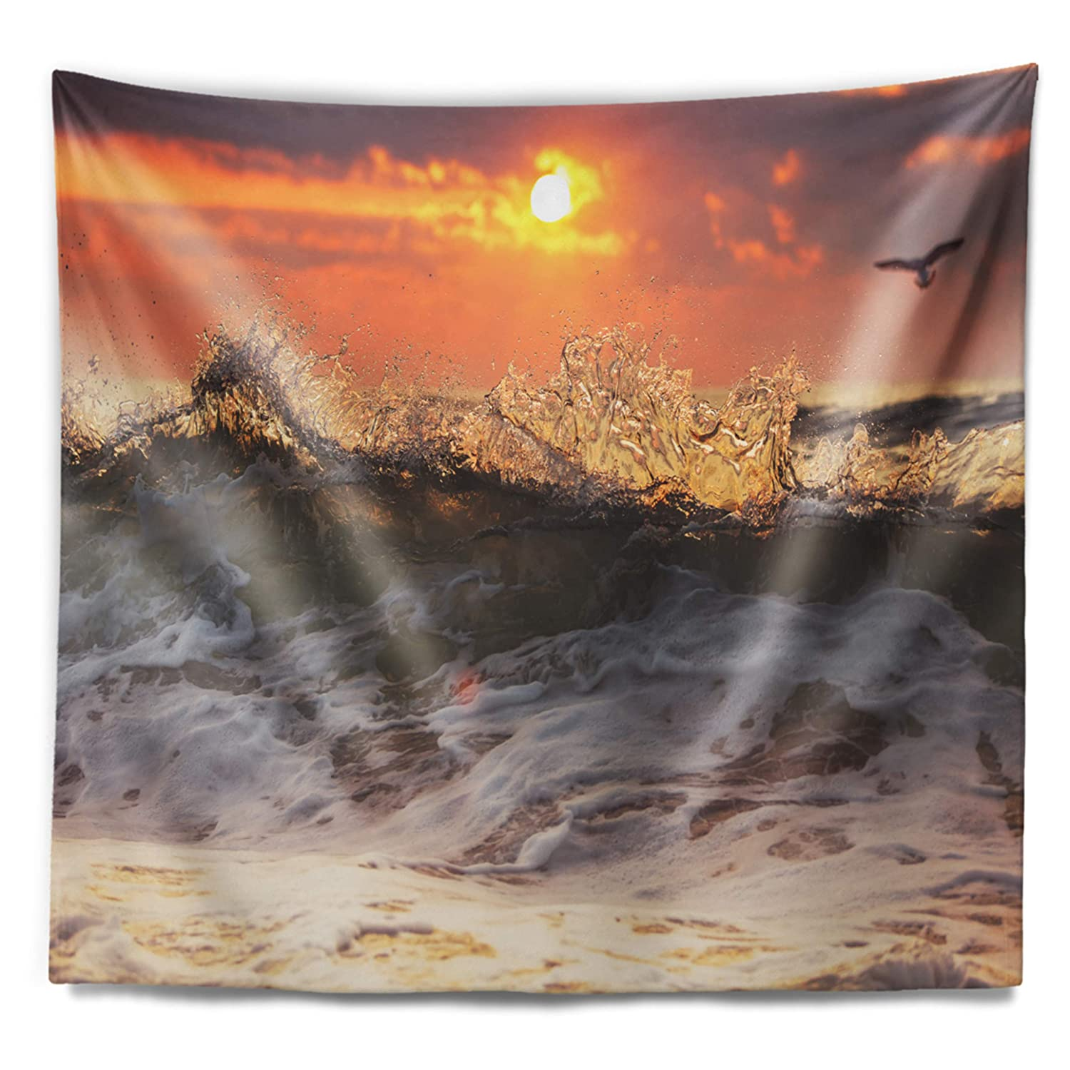 Designart TAP10574-80-68  Sunrise and Roaring Ocean Waves Seascape Blanket D/écor Art for Home and Office Wall Tapestry x Large x 68 in 80 in in