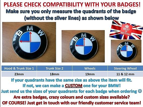 Schwarz /& Weiß Kohlenstofffaser Emblem Ecken für BMW E84 F25 E70 E71 X1 X3 X4 X5