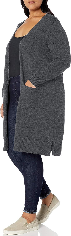 Essentials Womens Plus Size Lightweight Longer Length Cardigan Sweater