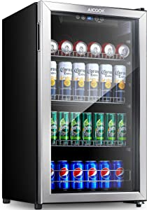 Aicook Beverage Refrigerator and Cooler - 120 Can Mini Fridge with Glass Door for Soda Beer or Wine - Small Drink Dispenser Machine with Removable Shelves For Home Office or Bar, LED, Stainless Steel