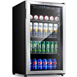 Aicook Beverage Refrigerator and Cooler - 120 Can Mini Fridge with Glass Door for Soda Beer or Wine - Small Drink Dispenser M