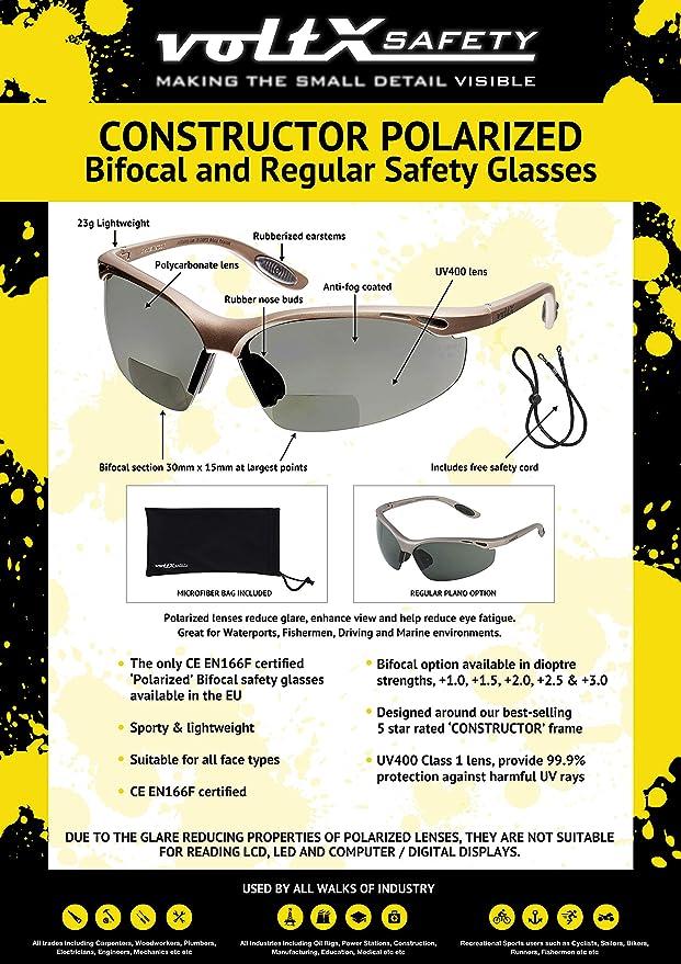 +1.0 diottrie Polarized Safety Reading Glasses Certificati CE EN166f//Occhiali per ciclisti voltX CONSTRUCTOR POLARIZZATA Bifocale Sicurezza occhiali da lettura