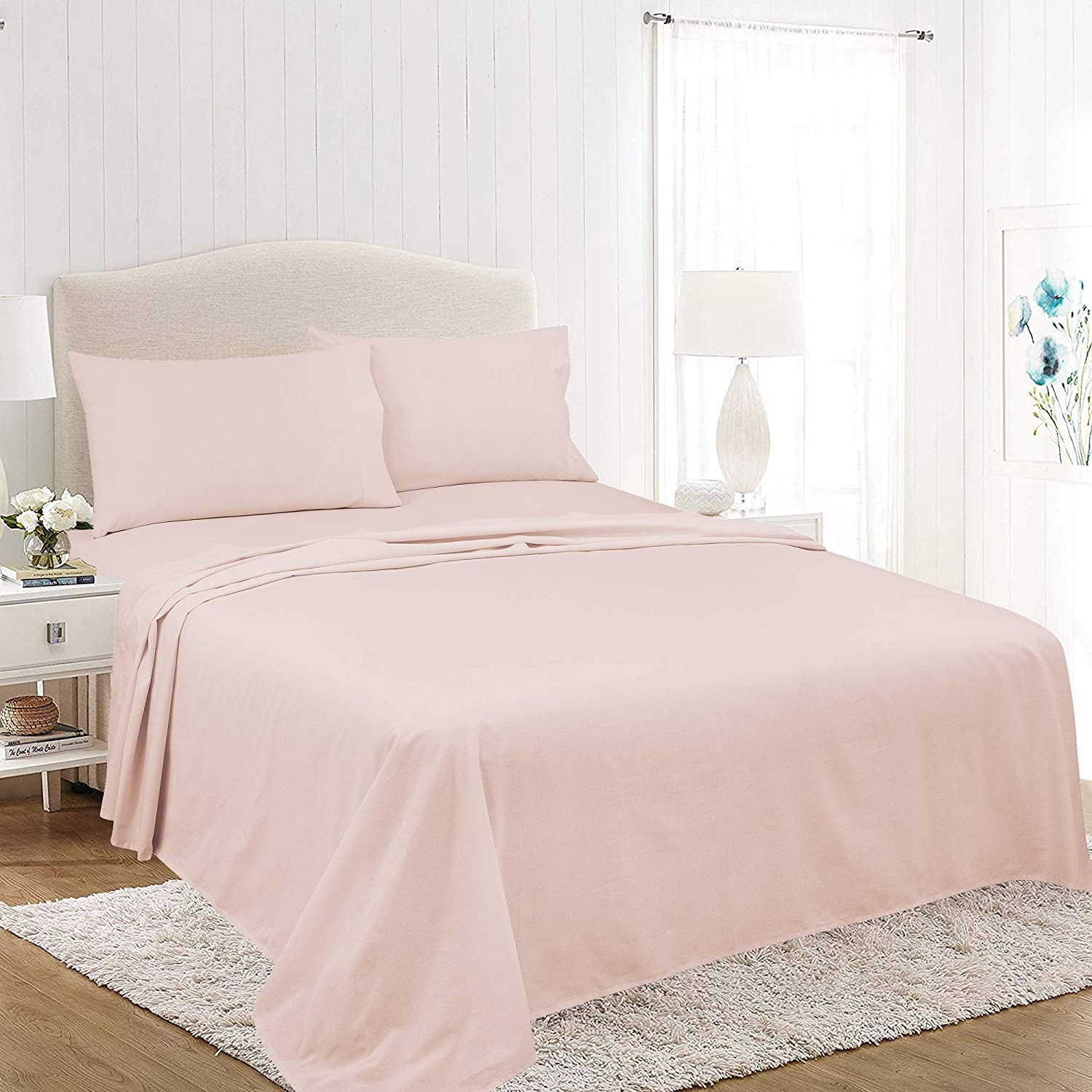Royale Linens Soft Home Brushed Percale Ultra Soft 100% Cotton, Full 4-Piece Sheet Set, Model Number: A92M46-091-0661