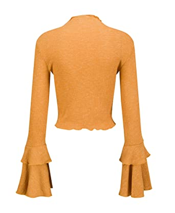 5b461710 Yimeili Women's Knit High Neck Trumpet Flare Bell Sleeve Blouse Long Sleeve  T-Shirts Tops at Amazon Women's Clothing store: