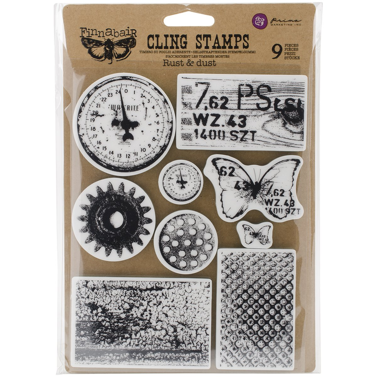 Prima Marketing Finnabair Cling Stamps 6X7.5, Rust & Dust 962050