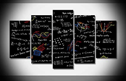 Amazon Com Mcanvas 5pcs Math Equations Canvas Print Wall Art