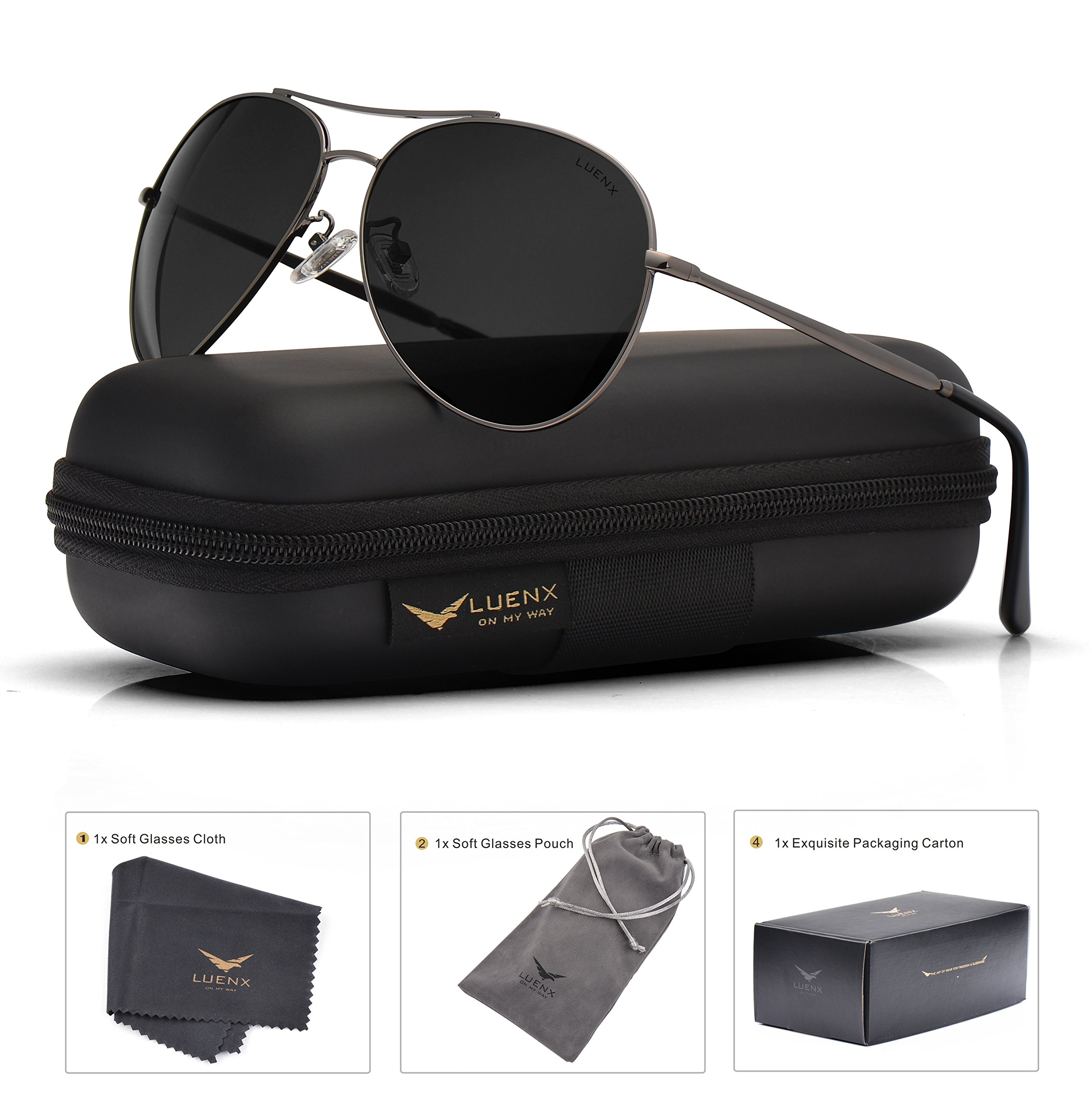 LUENX Aviator Sunglasses Men Women Non-Mirror Polarized UV400 Metal Frame 60MM (018-Grey, 60)