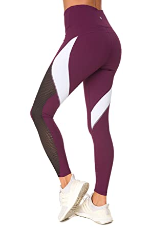 2a68c9446bf950 Queenie Ke Women Yoga Pants Color Blocking Mesh Workout Running Leggings  Tights Size L Color Dark Rose Red: Amazon.co.uk: Clothing