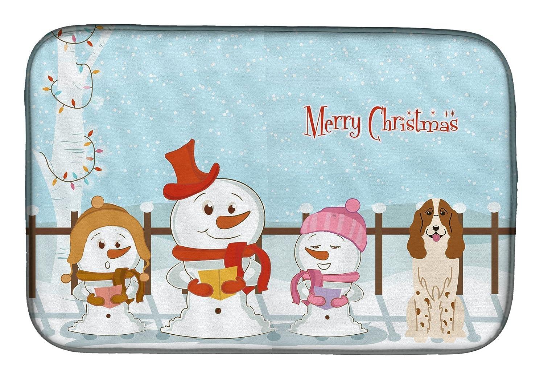 Caroline 's Treasures bb2362ddm Merry Christmas CarolersロシアSpanielディッシュ乾燥マット、14 x 21、マルチカラー   B07BQDJVRV