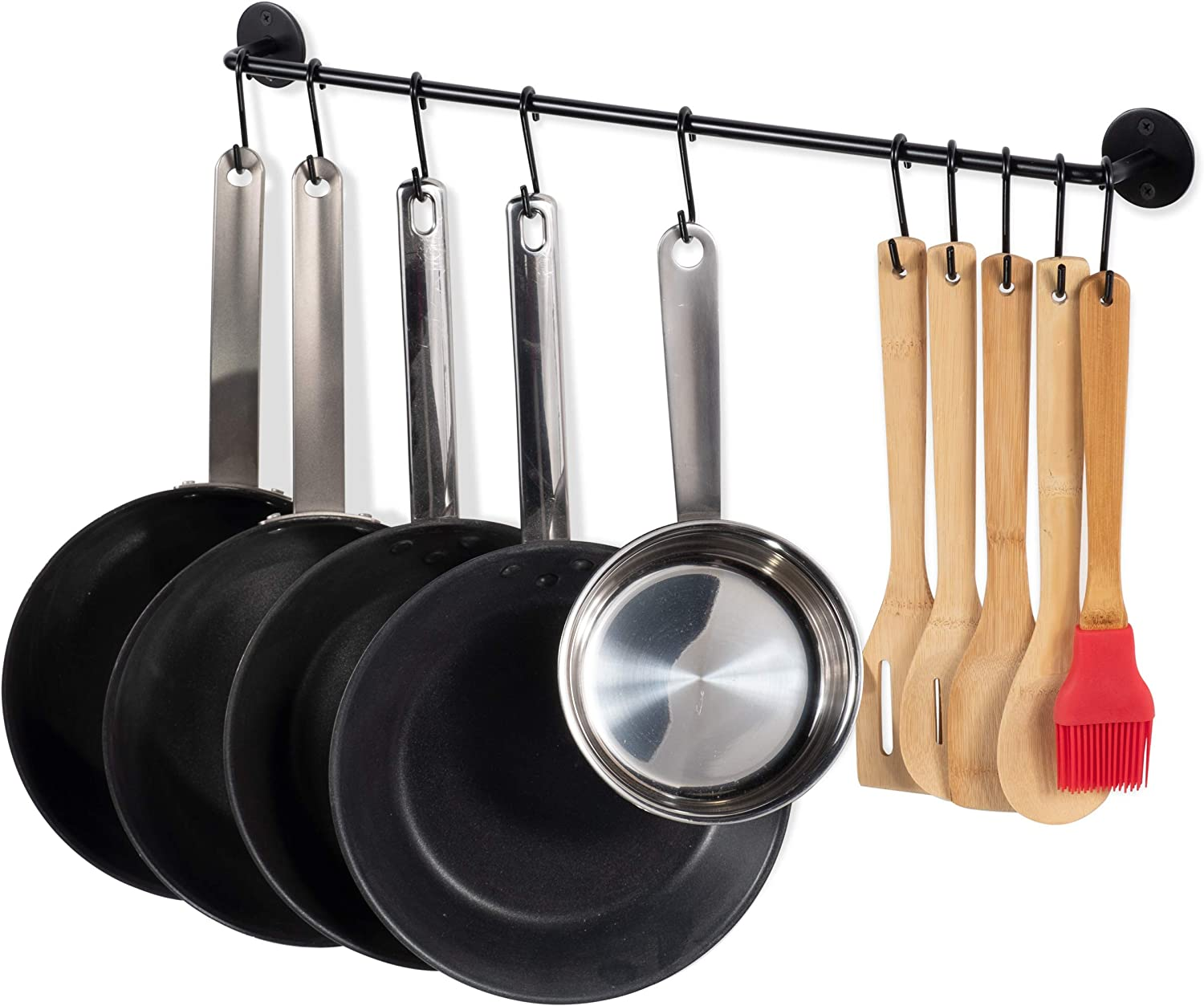 Kitchen Wall Mount Rail with 10 S Hooks Pot Pan Lid Rack Utensil Holder