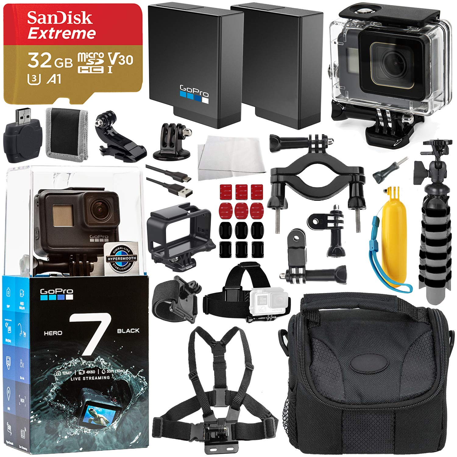 GoPro HERO7 Black Deluxe Bundle Includes: SanDisk Extreme 32GB microSDXC Memory Card + Replacement Battery + Underwater Housing + Carrying Case and More by GoPro