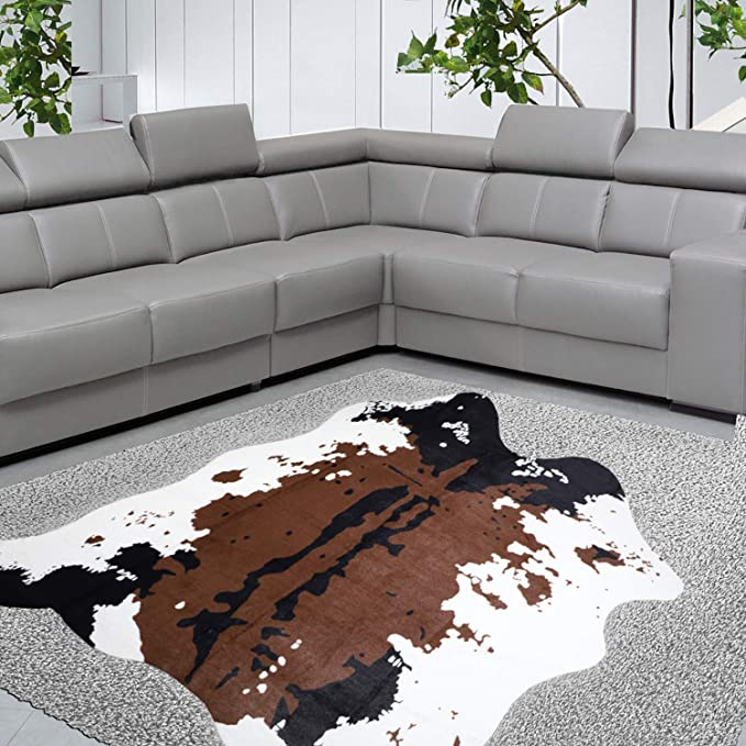Yincimar Faux Cowhide Rug Brown And White 55 X63 Cow Print Area Rug Cut Animal Hide Carpet For Living Room Nursery Home Office Decorating Kids Room Kitchen Dining