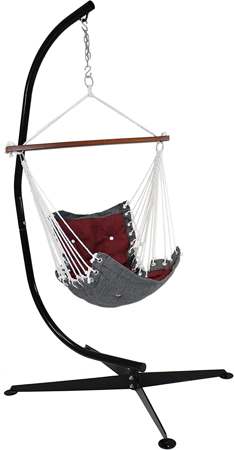 Sunnydaze Tufted Victorian Hanging Rope Hammock Chair with C-Stand, Indoor or Outdoor Swing Seat, 300-Pound Weight Capacity, Red