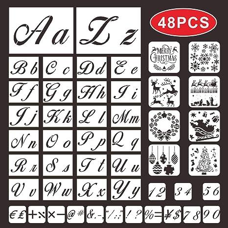 Plantillas de letras para pintar sobre madera, números de alfabeto ...