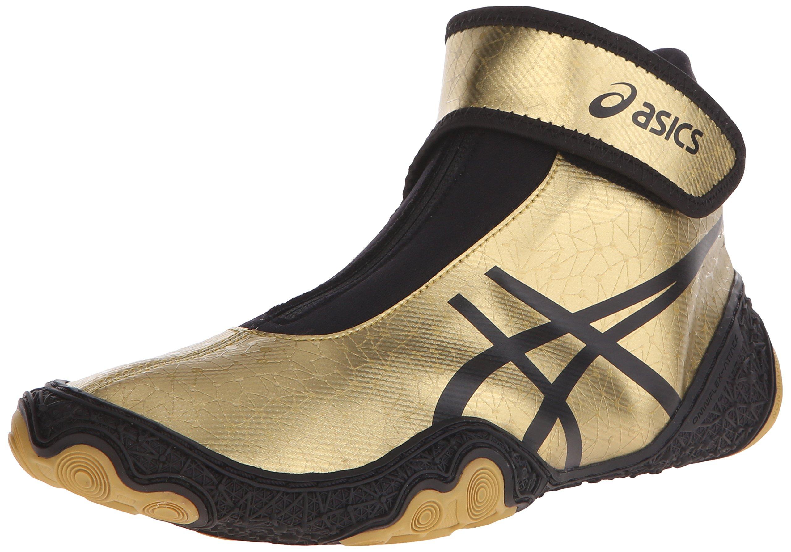 ASICS Men's Omniflex Attack V2.0 Wrestling Shoe, Gold/Black, 11 M US