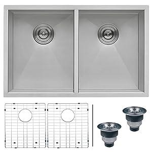 "Ruvati RVH7350 Undermount 16 Gauge Kitchen Sink Double Bowl, 30"", Stainless Steel"
