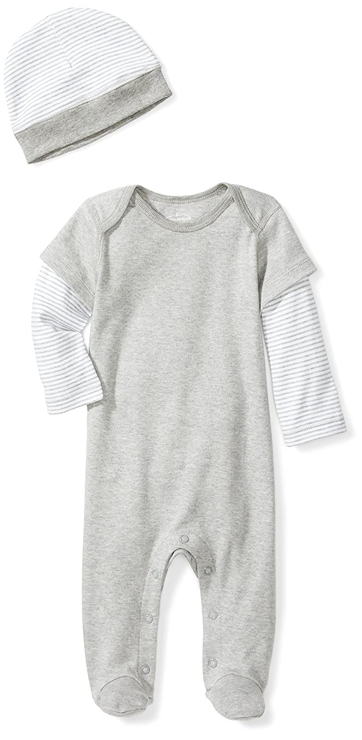 Newborn Moon and Back Baby Organic Double-Sleeve One-Piece Coveralls with Cap Set Grey Heather