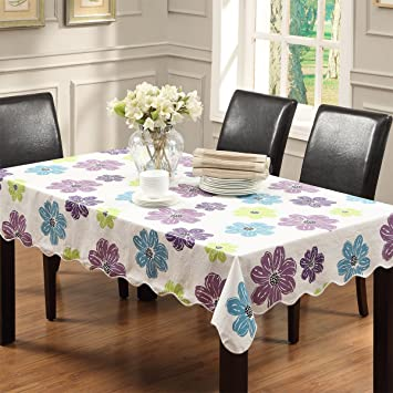 Ennas Vinyl Tablecloth Felt Backed Colored Plastic Tablecloths 58 Inch By  58 Inch Square