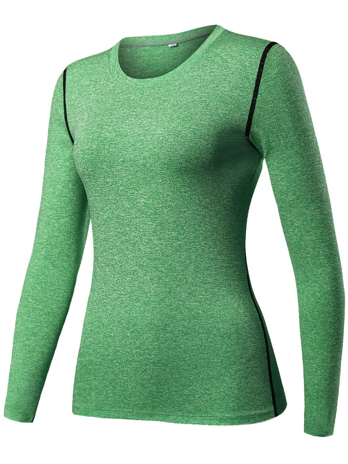 Lavento Women's Compression Shirt Sport Performance Crewneck Long-Sleeve T Shirt(X-Large,1 Pack-8020 Heather Green) by Lavento