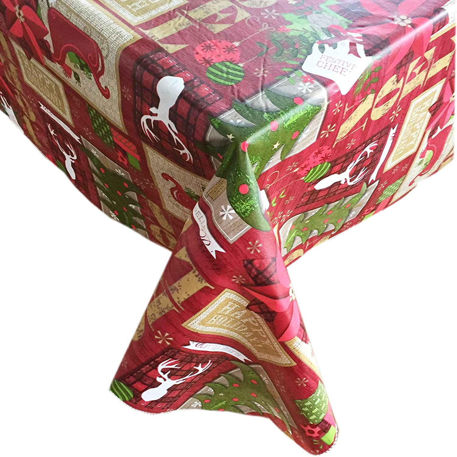 Home Bargains Plus 60 Inch x 84 Inch Oval Sleigh Bells Lodge Cheer Flannel Back Vinyl Christmas Tablecloth,