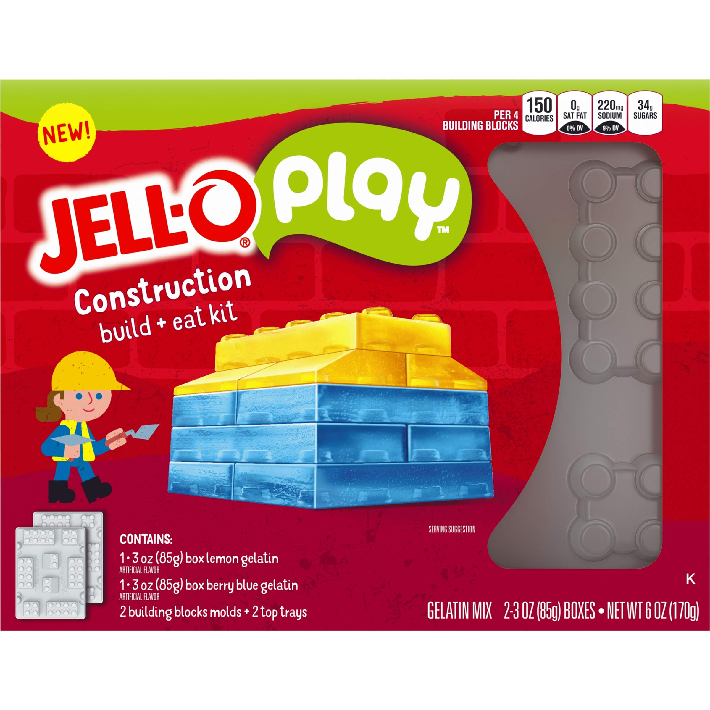 JELL-O Play Construction Build + Eat Gelatin Dessert Kit (6 oz Boxes, Pack of 5) by Jell-O