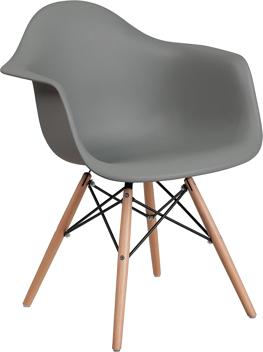 Flash Furniture Alonza Series Moss Gray Plastic Chair with Wooden Legs
