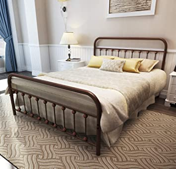Temmer Metal Bed Frame Queen Size With Headboard And Footboard